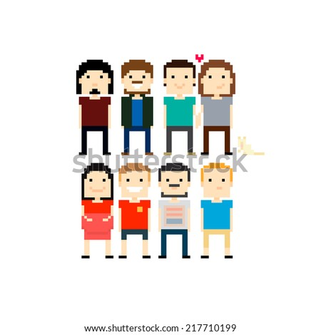 Pixel art 8-bit characters isolated on white background - stock vector