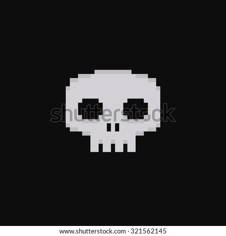 Pixel art 8-bit skull isolated on dark background - stock vector