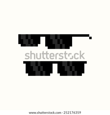 Pixel art black sunglasses isolated on white background - stock vector