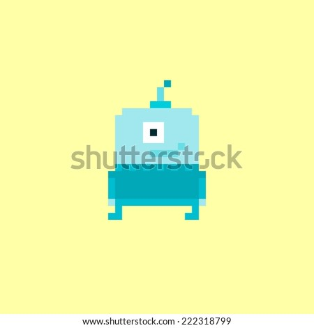 Pixel art blue alien character isolated on yellow background - stock vector