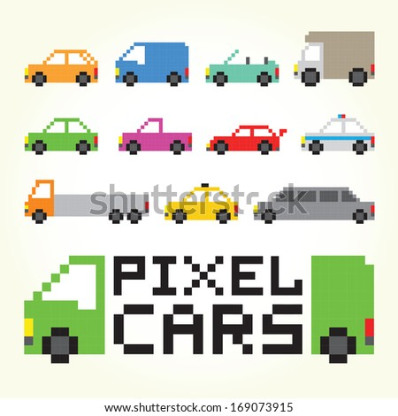Pixel art cars isolated vector set - stock vector
