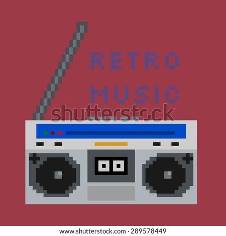 Pixel art cassette deck retro music sign - stock vector