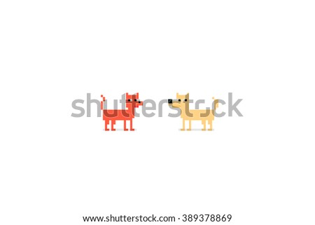 Pixel art characters, cat and dog isolated on white background