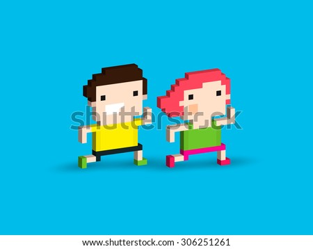 Pixel art characters, male and female, running together - stock vector