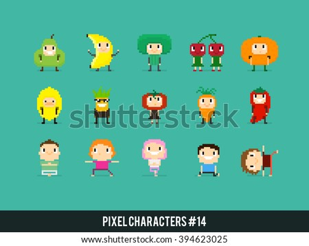 Pixel art characters, people in fruits and veggies costumes and people doing yoga
