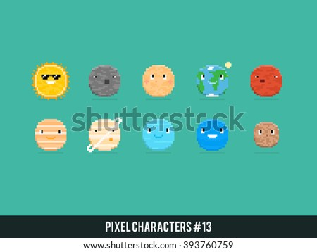 Pixel art characters, solar system planets with stars isolated on dark blue background