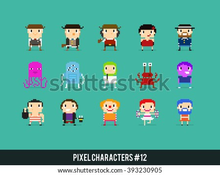 Pixel art characters, wild west, aliens and circus people