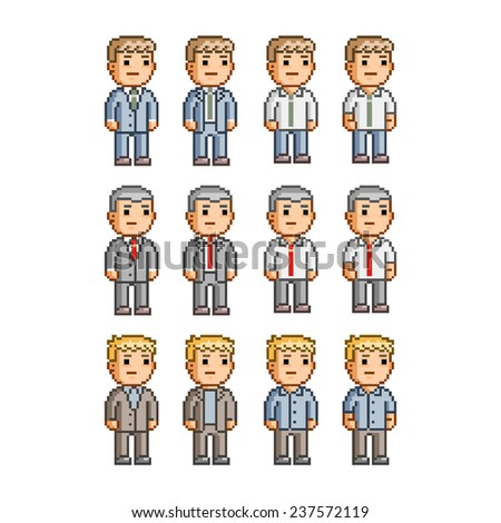 Pixel art collection of different characters for business - stock vector