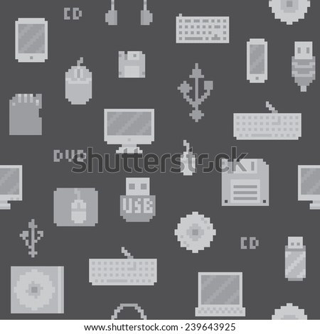 Pixel art computer objects seamless vector pattern (grey) - stock vector