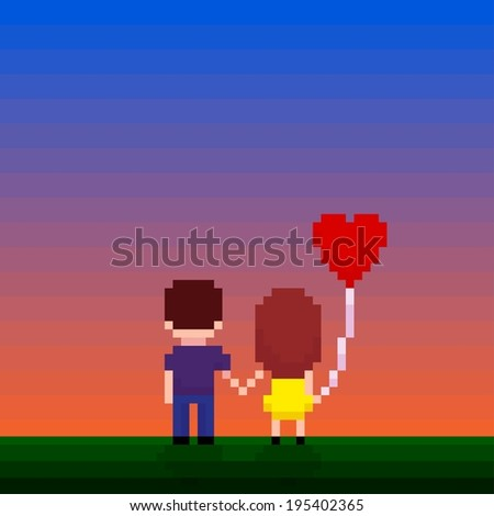 Pixel art couple holding hands and looking for a sunset - stock vector