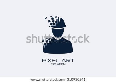 Pixel art design of the engineer logo. - stock vector