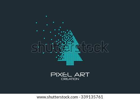 Pixel art design of the fir-tree logo.  - stock vector