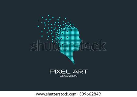 Pixel art design of the human head logo. - stock vector