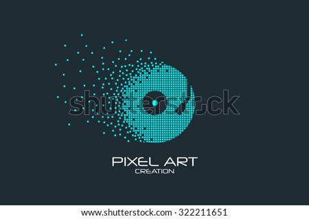 Pixel art design of the vinyl logo. - stock vector