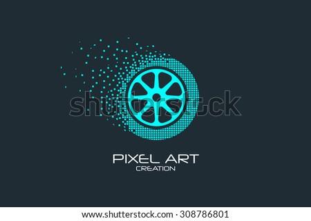 Pixel art design of the wheel logo. - stock vector