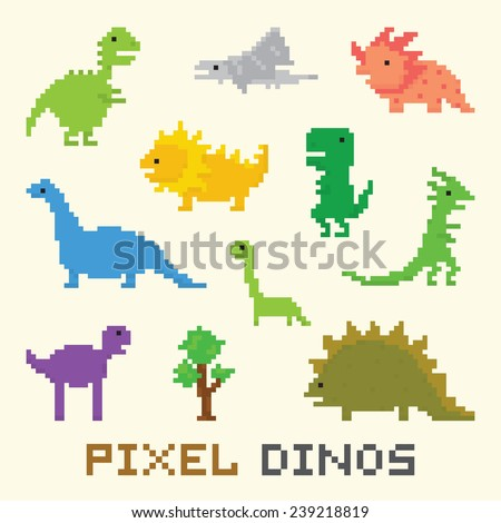 Pixel art dinos vector object set - stock vector