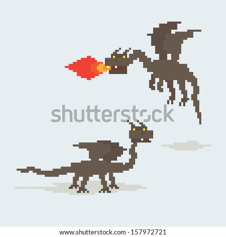 Pixel art dragons. Flying and throwing fire by  his mouth and walking - stock vector