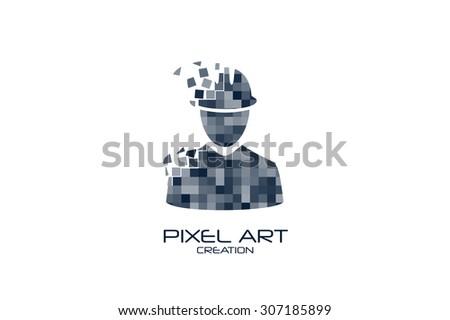 Pixel art engineer logo on white background. - stock vector