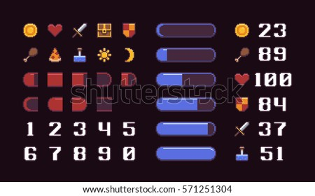 pixel art game interface elements icons stock vector