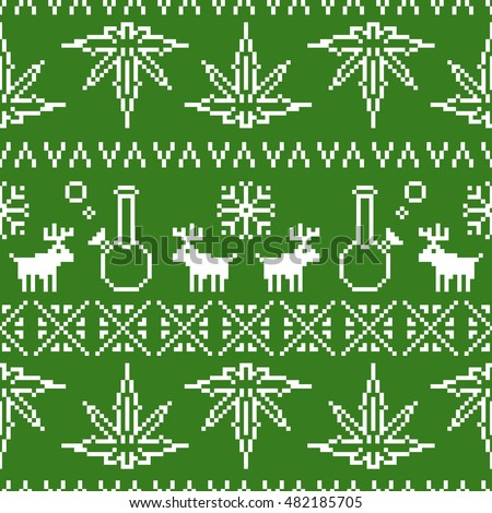Pixel art game style old school christmas sweater weed seamless vector pattern green