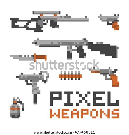 Pixel art game style weapons isolated vector set