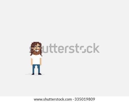 Pixel art happy bearded guy with long hair - stock vector