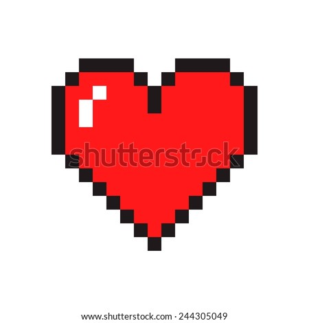 Pixel art heart isolated on white background - stock vector