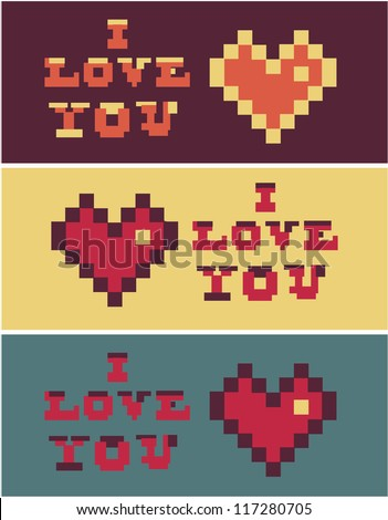 pixel art i love you Heart and Text set - stock vector