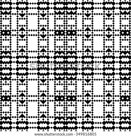 pixel art lace - black and white vector seamless pattern, based on diagonal baltic ornaments - stock vector