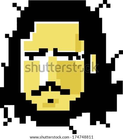 pixel art man - stock vector