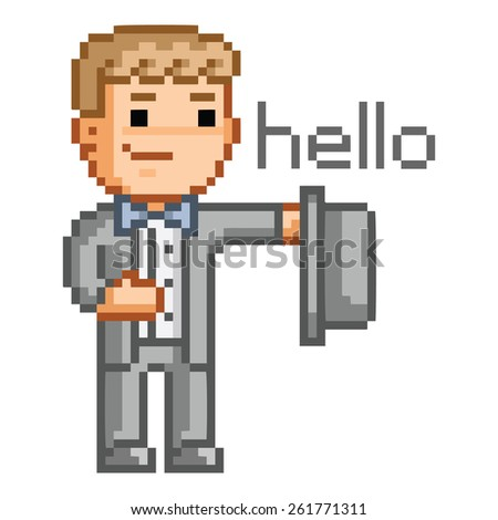 Pixel art man in a suit says hello