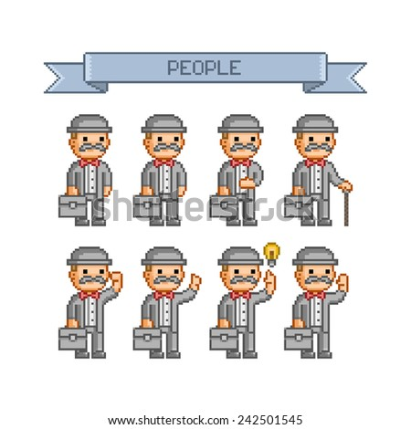 Pixel art mustachioed man in a suit, hat, carrying a briefcase - stock vector