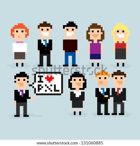 Pixel art office people, vector illustration - stock vector