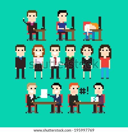 Pixel art people in office - stock vector