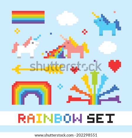 Pixel art rainbow isolated objects vector set - stock vector