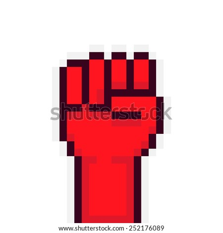 Pixel art red rebel fist up - stock vector