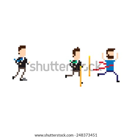 Pixel art running characters on finish line - stock vector