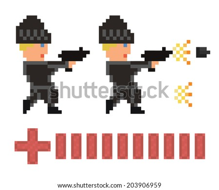 pixel art set of bandit in black clothes and hat shooting  gun and health bar for game design development- isolated vector illustration sprite - stock vector