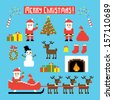 Pixel art set of icons with Santa, deers, snowman, christmas tree and other Christmas symbols - stock
