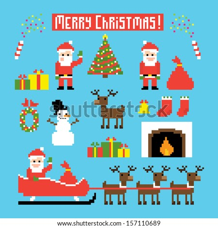 Pixel art set of icons with Santa, deers, snowman, christmas tree and other Christmas symbols - stock vector