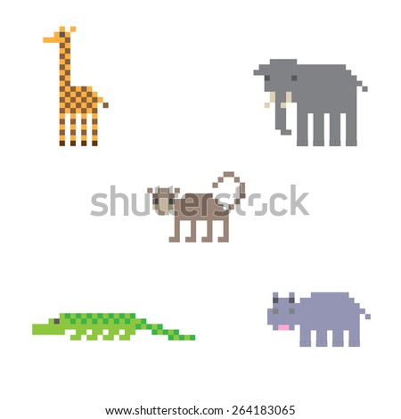 Pixel art set of some african animals on white background - stock vector