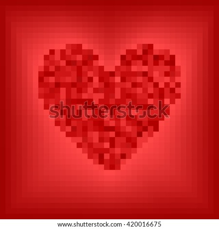 Pixel-art square grid vector illustration: red pixel heart on rose and red background