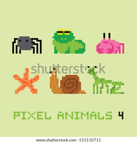 Pixel art style animals cartoon vector set 4