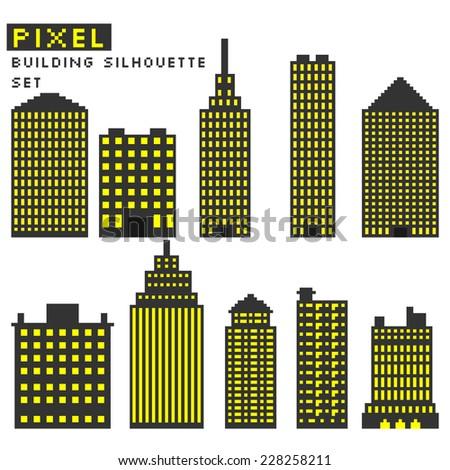 Pixel art style buildings silhouette vector illustration. - stock vector
