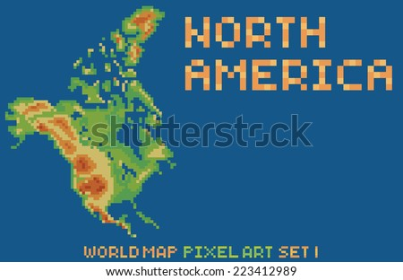 Conjunto de world map pixel de gdainti en shutterstock pixel art style map of north america contains relief continent and islands gumiabroncs Image collections