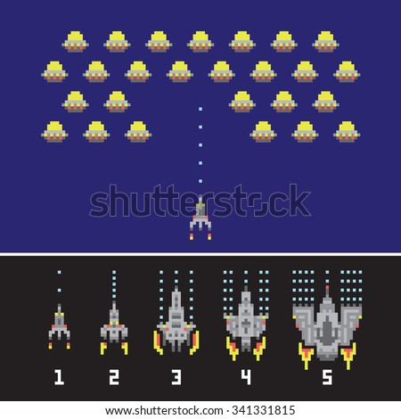 Pixel art style space war and spaceship game upgrades vector set
