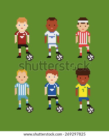 pixel art style vector set - football soccer players in different uniforms on green field holding the ball with his leg six players - stock vector