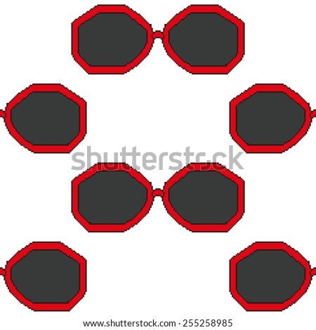 pixel art sunglasses with red rim seamless pattern - stock vector