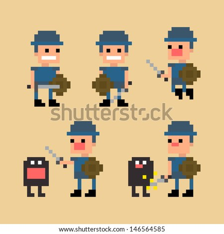 Pixel art swordsman warrior fighting against the monster, jumping and posing, vector illustration