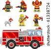Pixel art Vector illustrated set of icons, depicting firefighters and a firetruck. Artwork is composed of editable vector square and is clearly and crisply readable in both large and tiny sizes. - stock vector